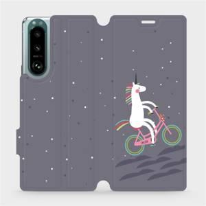 Flip pouzdro Mobiwear na mobil Sony Xperia 5 III - V024P Jednorožec na kole