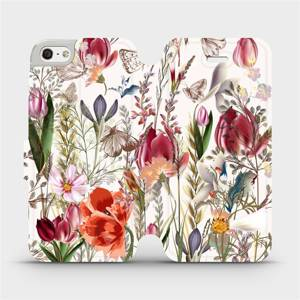 Flip pouzdro Mobiwear na mobil Apple iPhone SE / iPhone 5 / iPhone 5S - MP01S Rozkvetlá louka