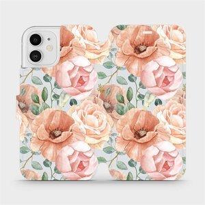 Flip pouzdro Mobiwear na mobil Apple iPhone 12 - MP02S Pastelové květy