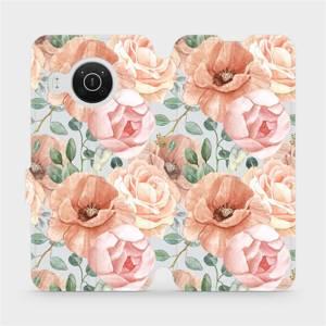 Flip pouzdro Mobiwear na mobil Nokia X10 - MP02S Pastelové květy