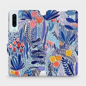Flip pouzdro Mobiwear na mobil Huawei P30 - MP03P Modrá květena
