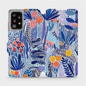 Flip pouzdro Mobiwear na mobil Samsung Galaxy A52 / A52 5G - MP03P Modrá květena - výprodej, rozbaleno