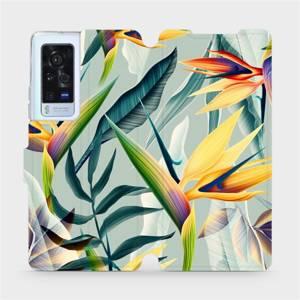Flip pouzdro Mobiwear na mobil Vivo X60 Pro 5G - MC02S Žluté velké květy a zelené listy