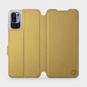 Flip pouzdro Mobiwear na mobil Xiaomi Redmi Note 10 5G v provedení C_GOS Gold&Gray s šedým vnitřkem