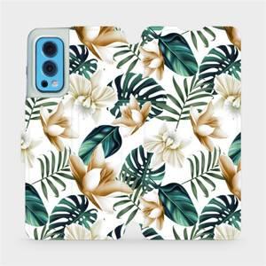 Flip pouzdro Mobiwear na mobil OnePlus Nord 2 5G - MC07P Zlatavé květy a zelené listy