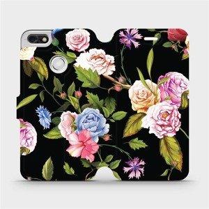 Flipové pouzdro Mobiwear na mobil Huawei P9 Lite mini - VD07S Růže a květy na černém pozadí