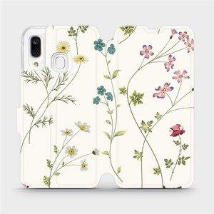 Flipové pouzdro Mobiwear na mobil Samsung Galaxy A40 - MD03S Tenké rostlinky s květy