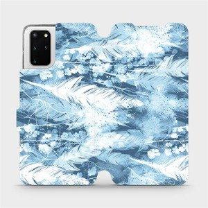 Flipové pouzdro Mobiwear na mobil Samsung Galaxy S20 Plus - M058S Světle modrá horizontální pírka