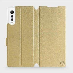 Flipové pouzdro Mobiwear na mobil LG Velvet v provedení C_GOS Gold&Gray s šedým vnitřkem