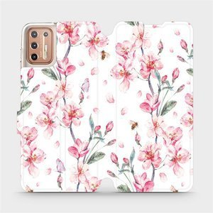 Flipové pouzdro Mobiwear na mobil Motorola Moto G9 Plus - M124S Růžové květy