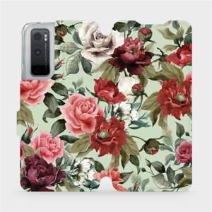 Flipové pouzdro Mobiwear na mobil Vivo Y70 - MD06P Růže a květy na světle zeleném pozadí