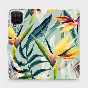 Flipové pouzdro Mobiwear na mobil Samsung Galaxy A12 - MC02S Žluté velké květy a zelené listy