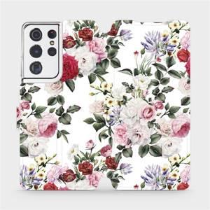 Flipové pouzdro Mobiwear na mobil Samsung Galaxy S21 Ultra 5G - MD01S Růže na bílé