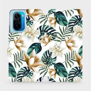 Flipové pouzdro Mobiwear na mobil Xiaomi Mi 11i / Xiaomi Poco F3 - MC07P Zlatavé květy a zelené listy