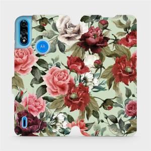Flipové pouzdro Mobiwear na mobil Motorola Moto E7i Power - MD06P Růže a květy na světle zeleném pozadí