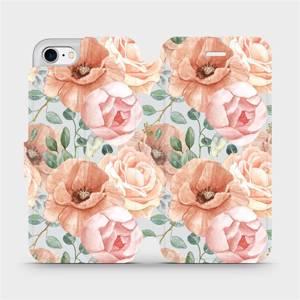 Flip pouzdro Mobiwear na mobil Apple iPhone 7 - MP02S Pastelové květy