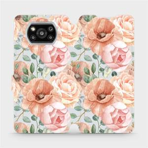Flip pouzdro Mobiwear na mobil Xiaomi POCO X3 NFC - MP02S Pastelové květy