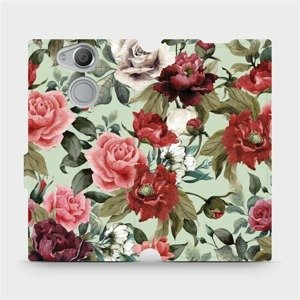 Flipové pouzdro Mobiwear na mobil Sony Xperia XA2 - MD06P Růže a květy na světle zeleném pozadí