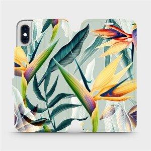Flipové pouzdro Mobiwear na mobil Apple iPhone XS - MC02S Žluté velké květy a zelené listy