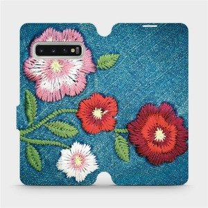 Flipové pouzdro Mobiwear na mobil Samsung Galaxy S10 - MD05P Džínové květy