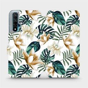 Flipové pouzdro Mobiwear na mobil Huawei Nova 5T - MC07P Zlatavé květy a zelené listy
