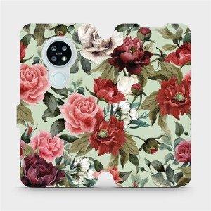 Flipové pouzdro Mobiwear na mobil Nokia 6.2 - MD06P Růže a květy na světle zeleném pozadí