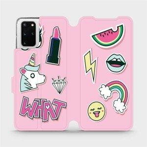 Flipové pouzdro Mobiwear na mobil Samsung Galaxy S20 Plus - M129S Růžové WHAT