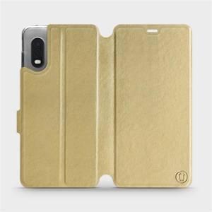 Flipové pouzdro Mobiwear na mobil Samsung Xcover PRO v provedení C_GOP Gold&Orange s oranžovým vnitřkem