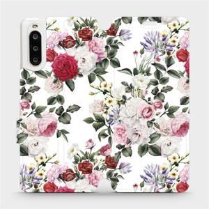 Flipové pouzdro Mobiwear na mobil Sony Xperia 10 II - MD01S Růže na bílé
