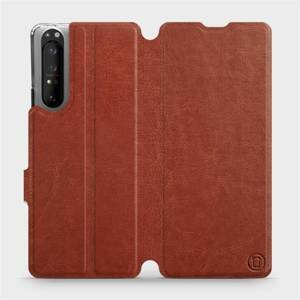 Flipové pouzdro Mobiwear na mobil Sony Xperia 1 II v provedení C_BRP Brown&Orange s oranžovým vnitřkem