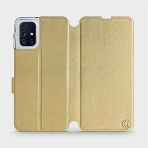 Flipové pouzdro Mobiwear na mobil Samsung Galaxy M31s v provedení C_GOP Gold&Orange s oranžovým vnitřkem