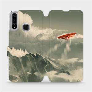 Flipové pouzdro Mobiwear na mobil Samsung Galaxy A20S - MA03P Oranžové letadlo v horách