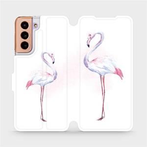 Flipové pouzdro Mobiwear na mobil Samsung Galaxy S21 5G - M005S Plameňáci