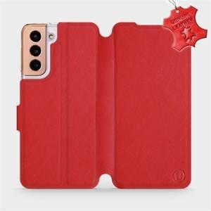 Luxusní flip pouzdro Mobiwear na mobil Samsung Galaxy S21 5G - Červené - kožené -  L_RDS Red Leather - poslední kousek za tuto cenu