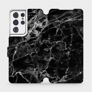 Flipové pouzdro Mobiwear na mobil Samsung Galaxy S21 Ultra 5G - V056P Černý mramor