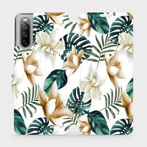 Flip pouzdro Mobiwear na mobil Sony Xperia 10 III - MC07P Zlatavé květy a zelené listy