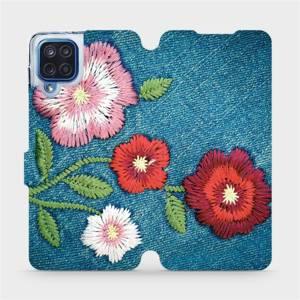 Flipové pouzdro Mobiwear na mobil Samsung Galaxy M12 - MD05P Džínové květy