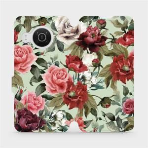 Flip pouzdro Mobiwear na mobil Nokia X10 - MD06P Růže a květy na světle zeleném pozadí