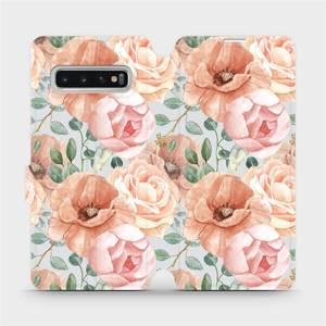 Flip pouzdro Mobiwear na mobil Samsung Galaxy S10 - MP02S Pastelové květy