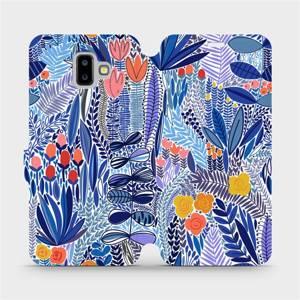 Flip pouzdro Mobiwear na mobil Samsung Galaxy J6 Plus 2018 - MP03P Modrá květena