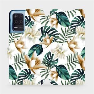 Flip pouzdro Mobiwear na mobil Realme 8 5G - MC07P Zlatavé květy a zelené listy