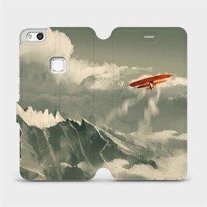 Flipové pouzdro Mobiwear na mobil Huawei P10 Lite - MA03P Oranžové letadlo v horách