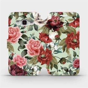Flipové pouzdro Mobiwear na mobil Samsung Galaxy J3 2016 - MD06P Růže a květy na světle zeleném pozadí