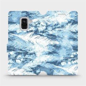 Flipové pouzdro Mobiwear na mobil Samsung Galaxy A8 2018 - M058S Světle modrá horizontální pírka
