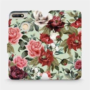 Flipové pouzdro Mobiwear na mobil Huawei Y6 Prime 2018 - MD06P Růže a květy na světle zeleném pozadí