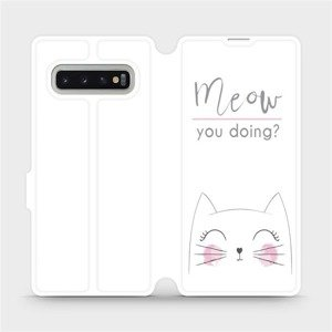 Flipové pouzdro Mobiwear na mobil Samsung Galaxy S10 Plus - M098P Meow you doing?