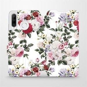 Flipové pouzdro Mobiwear na mobil Huawei P30 Lite - MD01S Růže na bílé