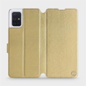 Flipové pouzdro Mobiwear na mobil Samsung Galaxy A71 v provedení C_GOP Gold&Orange s oranžovým vnitřkem