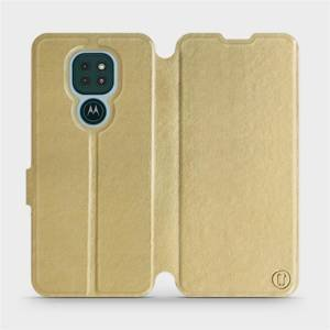 Flipové pouzdro Mobiwear na mobil Motorola Moto G9 Play v provedení C_GOS Gold&Gray s šedým vnitřkem