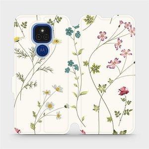 Flipové pouzdro Mobiwear na mobil Motorola Moto E7 Plus - MD03S Tenké rostlinky s květy